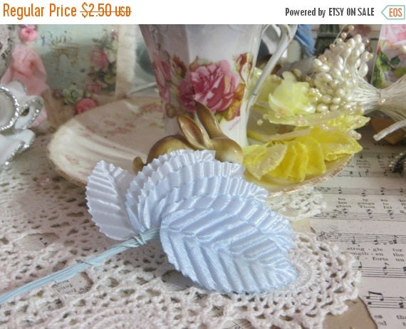 ON SALE Millinery Leaves-Baby Blue-Satin