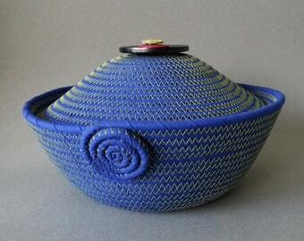 Coiled Basket, Basket with Lid, Blue Daze
