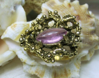 14k Solid Gold Free Form Nugget Ring Pink Tourmaline 6.72 grams Size 6.25