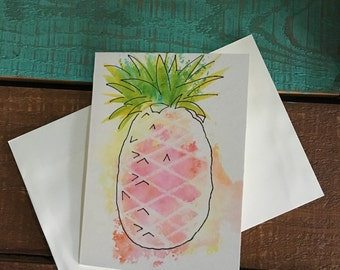 Pineapple blank card, greeting card, friend card,Pretty enough to frame.