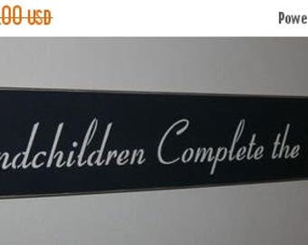ON SALE TODAY Grandparents Sign Grandchildren Complete The Circle Of Love Painted Wood Sign Primitive upc
