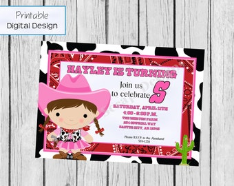 Little Cowgirl Birthday Party Invitation Style DI2169 DIGITAL FILE - Printable