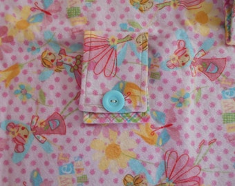 Hem Stitched Infant Car Seat Flannel Blanket - Pink, blue, yellow, Fairies and Flowers