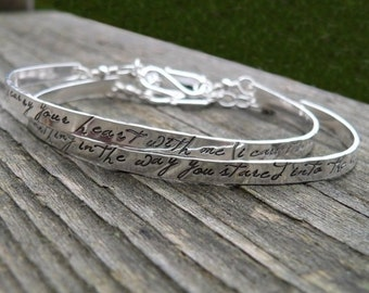 10 dollars off: Custom Stamped Sterling Phrase Cuff - 7 FONT CHOICES