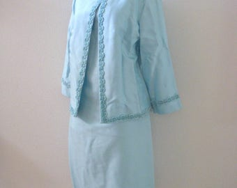 Vintage Pale Blue 60s Sheath Dress and Matching Jacket - 1960s Sleeveless Blue Dress and Jacket Set - Very Jackie O - Size Medum to Large