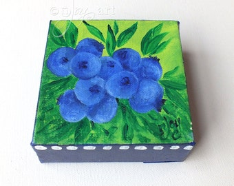 Blueberries! 4x4 Daily Doodle Mini Painting