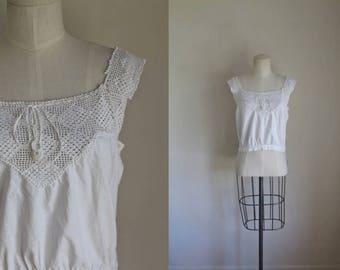 edwardian 1910s top - KITES crochet corset cover / S