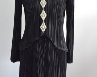 Sale 20% OFF Vintage Black LISA COLE Layered Pleated Crystal & Pearls Cocktail Evening Dress