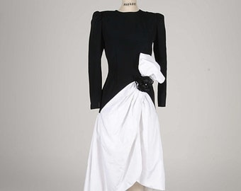 Sale 20% OFF VTG Cocktail Prom Black and White Taffeta Dress The Gilberts for Tally