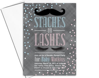 Staches or lashes gender reveal invitation printable or printed, baby reveal ideas, pink or blue gender reveal party, he or she - WLP00858