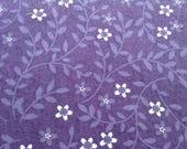 Purple Flannel Fabric 100% Cotton, White Flowers on Purple Background, LAST YARD
