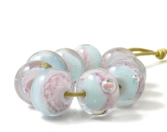 Lampwork Glass Beads | Pale Pink and Blue Ombre Glass Bead Set | Light Pink and Baby Blue | UK SRA | Artisan beads