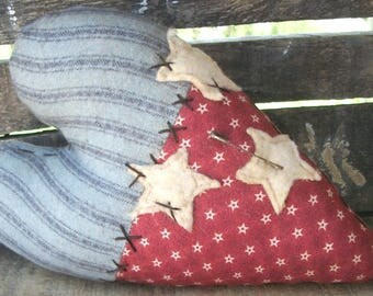 Primitive Americana Heart Ornie Small Cupboard Tuck Patriotic Bowl Filler