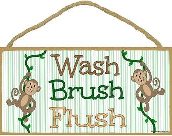 "Monkeys Wash, Brush, Flush Kids Bathroom Sign Plaque 5""x10"""