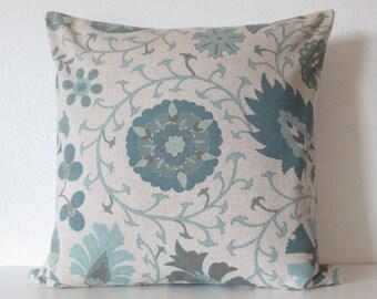 Timur Seafoam linen beige teal green decorative pillow cover