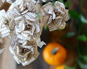Harry Potter Book Page Flowers - J.K. Rowling Roses Made From Book Paper