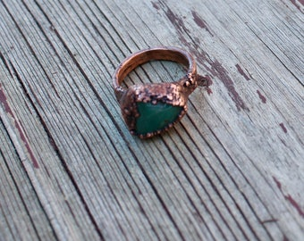 Contemporary Green Jade Copper Ring / Electroformed Copper Ring /Feng Shui Jewelry / Chakra Jewelry