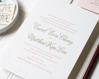 Letterpress Lace Wedding Invitation, Blind Deboss Letterpress Wedding, Romantic Letterpress, Foil Stamp, Flat Print - Caroline - DEPOSIT