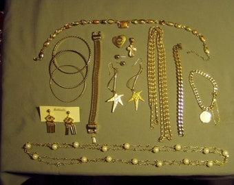 Vintage Lot Yellow Gold Tone Earrings 6 Bracelets 3 Necklaces Pin Pendant Trifari Necklace 9063