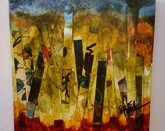 Through the Weeds - mixed media painting, abstract, mixie, by Shelli Finch of StressArt