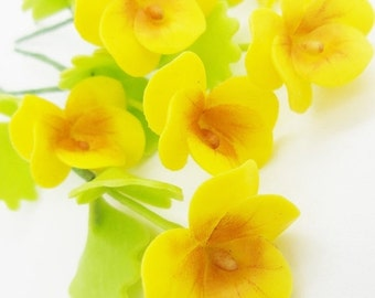Miniature Polymer Clay Flowers Supplies Shining Yellow Pansy with Leaves 12 stems