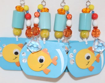 Fish Bowl with Fish Tablecloth Weights Set of 4