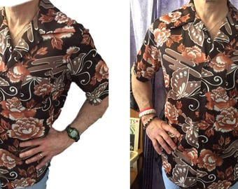 Vintage Men's Hawaiian Shirt with Pocket Cool Brown Mid Century Fashion Button Down Shirt 60's 70's Butterflies & Flowers