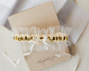 Gold Garter, Gold Wedding Garter, Gold Bridal Garter, Tulle Bridal Garter, Tulle Wedding Garter, Tulle Garter, Glitter Garter, Garter Glitte