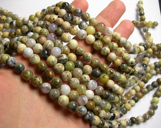 Dendritic moss Opal - 8 mm round beads - full strand - mix tone - 49 beads - RFG1102