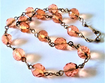 Blush Pink Deco Necklace... c.1930s... Wire Link