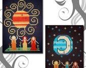 PDF E pattern emailed Sun Moon Dance Witch Wicca Cross Stitch Pattern Sampler 27