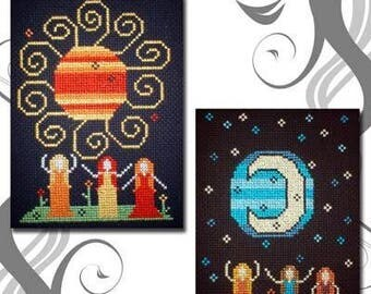 PDF E pattern emailed Sun Moon Dance Witch Wicca Cross Stitch Pattern Sampler 27