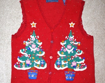 50% OFF SALE Ugly CHRisTMAS Sweater . Vintage Red Holiday Tacky Cardigan Vest . Decorated Christmas Trees Buttons Beads Embroidery Sz Small
