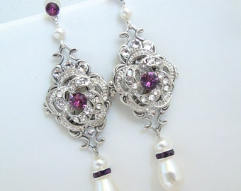 Bridal pearl Earrings, Rhinestone Wedding Earrings, Chandeliers Earrings, swarovski ivory pearl crystal earrings, purple earrings, ROSELANI