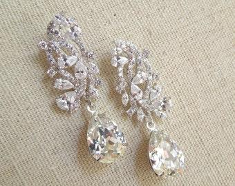 Crystal Chandelier earrings Bridal earrings Crystal Bridal earrings Wedding Bridal jewelry Swarovski Crystal Drop Bridal Earrings Stud ANGEL