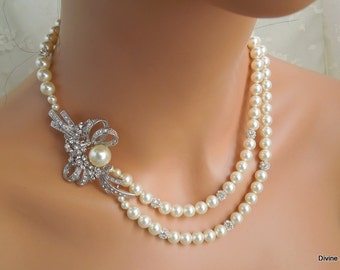 pearl necklace, pearl bridal necklace, Statement Bridal necklace, Wedding Rhinestone necklace, swarovski crystal and pearl necklace, KENYA