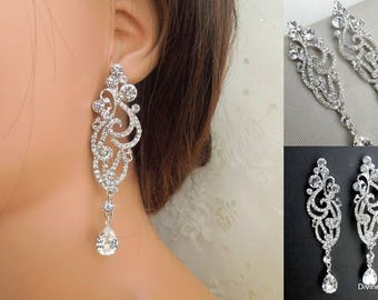 Bridal Earrings Swarovski earrings Chandelier Earrings Long Rhinestone Earrings Wedding Crystal Earrings Statement Bridal Earrings SCARLETT