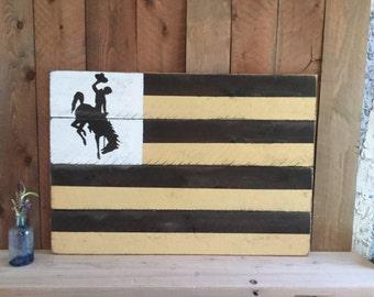 Wyoming Flag - University of Wyoming - Go Pokes - Wyoming Cowboys - Wyoming Wood Decor- Pallet Wood Home Decor - Rustic