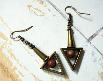 Jasper and Brass Boho Earrings (3368)