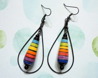 Rainbow Teardrop Boho Earrings (3556)