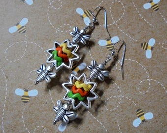 Yellow, Orange and Green Flower and Bee Earrings (3563)