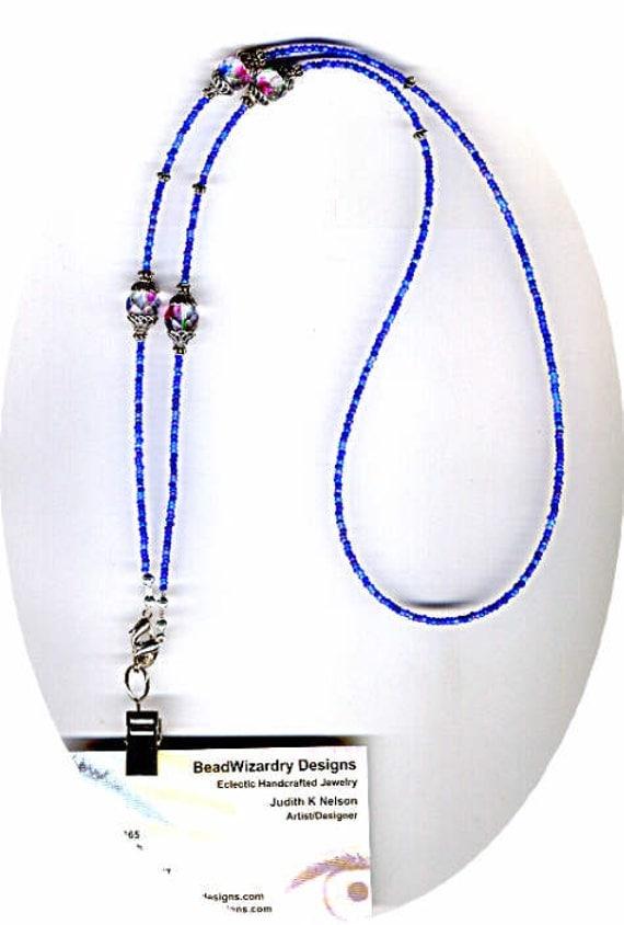 Beautiful Art Glass Beads & Variegated Blue Seed Beads Beaded ID Badge Lanyard or Eyeglass Chain