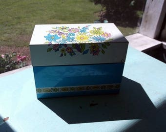 Metal Recipe box Vintage Ohio Art Index Card Recipe Box with Recipe Cards and Dividers Blue with Flowers