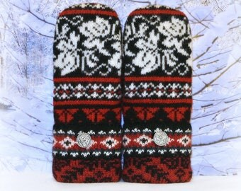 Nordic Mittens ~ Black, White & Red 100% Felted Wool Recycled Sweater Mittens