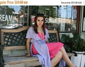 25% OFF SALE 70s Vintage Dress: Pink and Purple Slip Tunic Dress, s-m