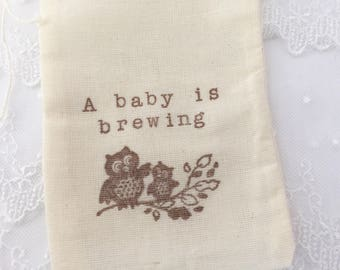 A Baby is Brewing Favor Bags Owls Tea Party Favor Bags Set of 10
