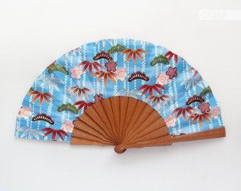 Sasanoha Blue Hand fan - Kimono fabric gold - Yukata accessory - japanese traditional motif - beach accessory - summer vacation wedding