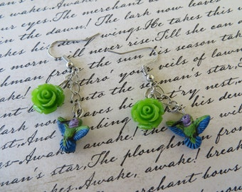 Dangling Painted Clay Hummingbird And Resin Rose Earrings
