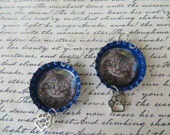 Fluffy Cat Bottle Cap Earrings