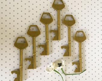 Bronze Key Bottle Opener Vintage Look Antiqued Bachelor or Bachelorette Gift  Wedding Favor Keys Pendant Set of 6